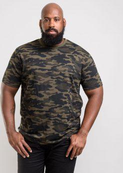 Žali kamufliažiniai didelių dydžių marškinėliai vyrams Gaston KS16427-1