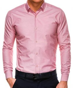 Taškuoti rožiniai marškiniai vyrams ilgomis rankovėmis internetu pigiau K529 14465-1
