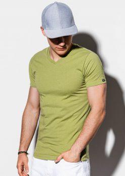 Alyvuogių vienspalviai vyriški marškinėliai internetu pigiau S1041 14920-1