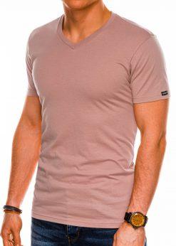 Rausvi vienspalviai vyriški marškinėliai internetu pigiau S1041 14921-1