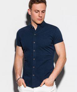 Tamsiai mėlyni marškiniai vyrams trumpomis rankovėmis internetu pigiau K541 15013-3