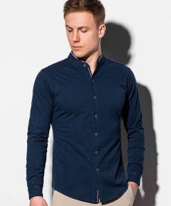Stilingi tamsiai mėlyni vyriški marškiniai ilgomis rankovėmis internetu pigiau K542 15020-2