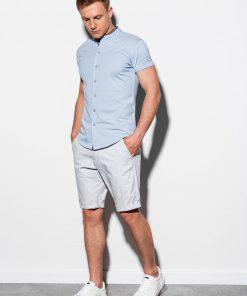 Mėlyni marškiniai vyrams trumpomis rankovėmis internetu pigiau K543 15024-3