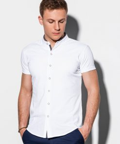Balti marškiniai vyrams trumpomis rankovėmis internetu pigiau K543 15026-1