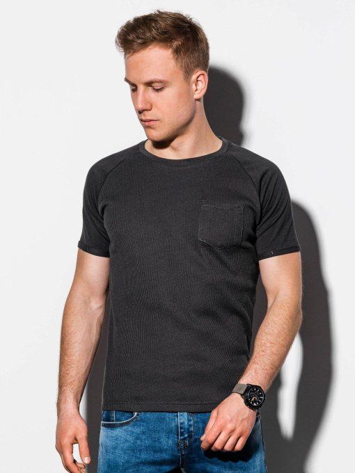 Juodi vienspalviai vyriški marškinėliai internetu pigiau S1182 15032-1