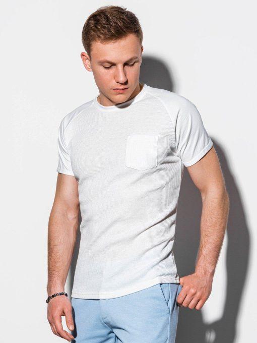 Balti vienspalviai vyriški marškinėliai internetu pigiau S1182 15033-1