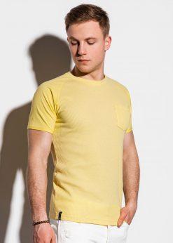 Geltoni vienspalviai vyriški marškinėliai internetu pigiau S1182 15035-1