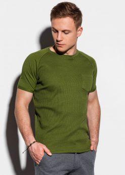 Alyvuogių vienspalviai vyriški marškinėliai internetu pigiau S1182 15036-1