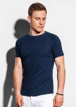 Tamsiai mėlyni vienspalviai vyriški marškinėliai internetu pigiau S1182 15037-1