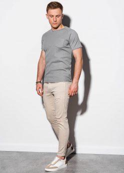 Pilki vienspalviai vyriški marškinėliai internetu pigiau S1182 15039-1