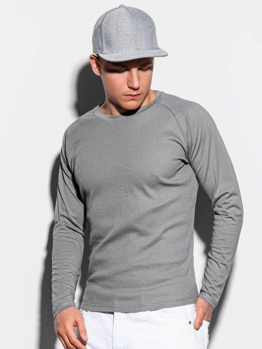 Pilki vyriški marškinėliai ilgomis rankovėmis internetu pigiau L119 15047-1