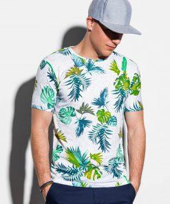 Balti gėlėti vyriški marškinėliai internetu pigiau S1293 15062-2