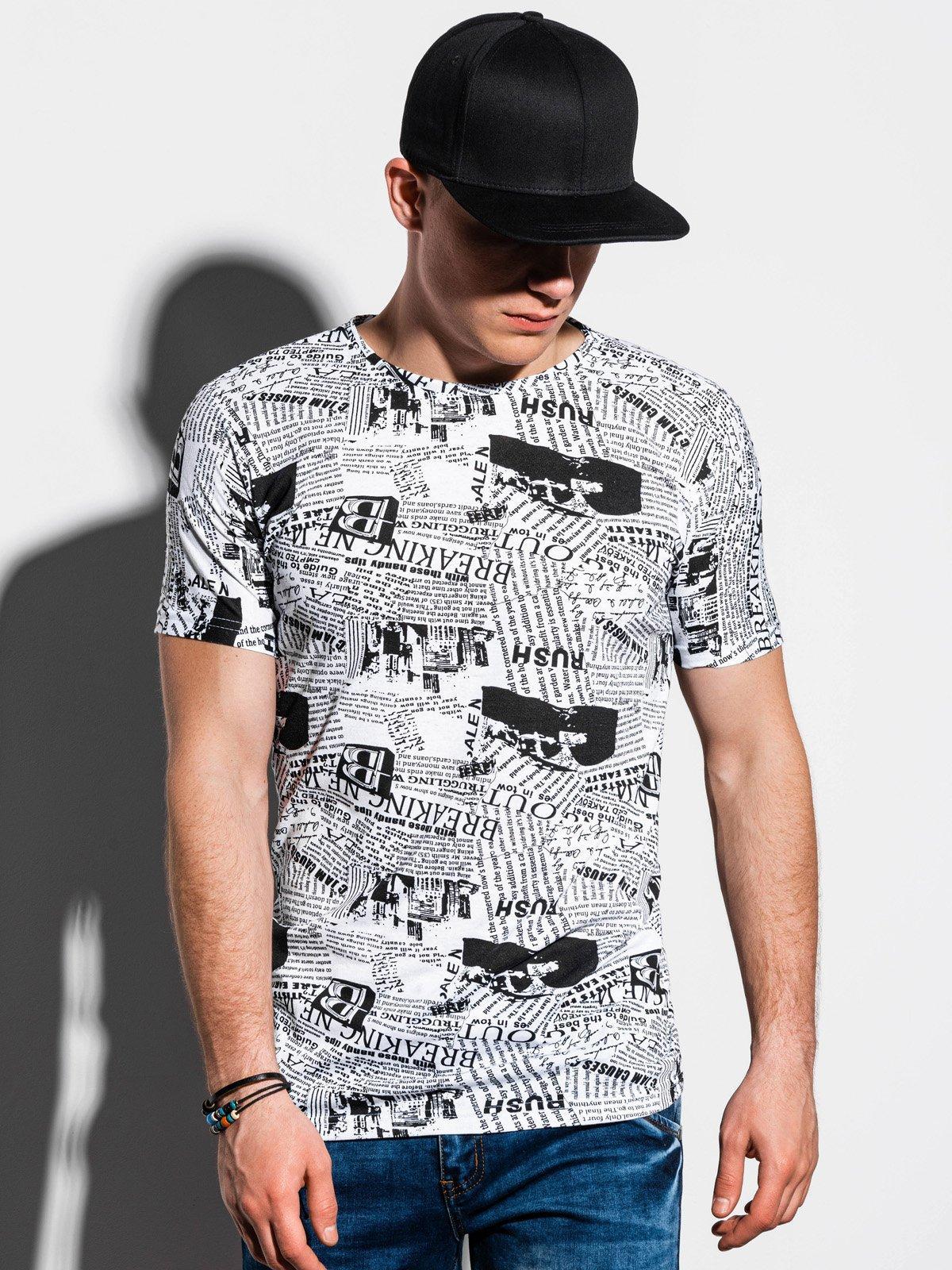 Balti vyriški marškinėliaimarginti aplikacijomis internetu pigiauS1292 15063-3