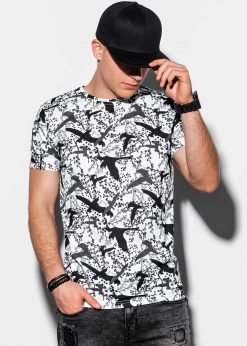 Balti gėlėti vyriški marškinėliai internetu pigiau S1288 15066-3