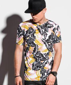 Balti gėlėti vyriški marškinėliai internetu pigiau S1295 15067-3