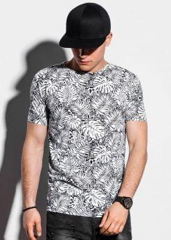 Balti gėlėti vyriški marškinėliai internetu pigiau S1296 15068-3