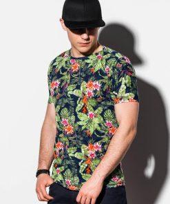 Juodi gėlėti vyriški marškinėliai internetu pigiau S1289 15070-3