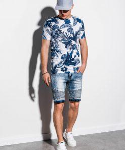 Tamsiai mėlyni gėlėti vyriški marškinėliai internetu pigiau S1297 15071-3