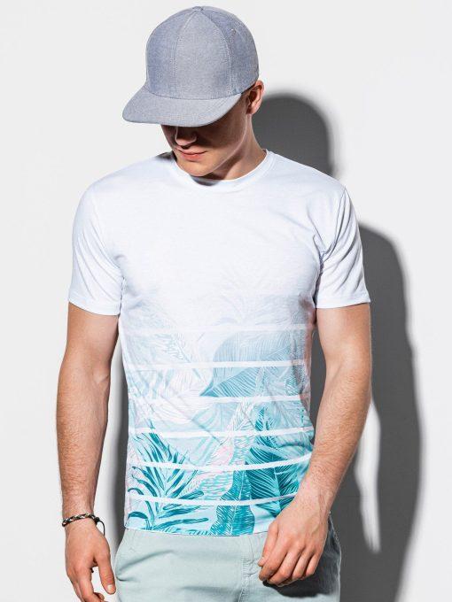 Balti gėlėti vyriški marškinėliai su aplikacijomis internetu pigiau S1187 15072-3