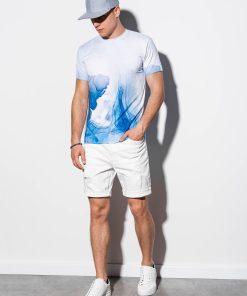 Balti vyriški marškinėliai marginti 3D raštu internetu pigiau S1189 15073-3