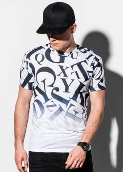 Balti vyriški marškinėliai su raidžių aplikacijomis internetu pigiau S1192 15075-3