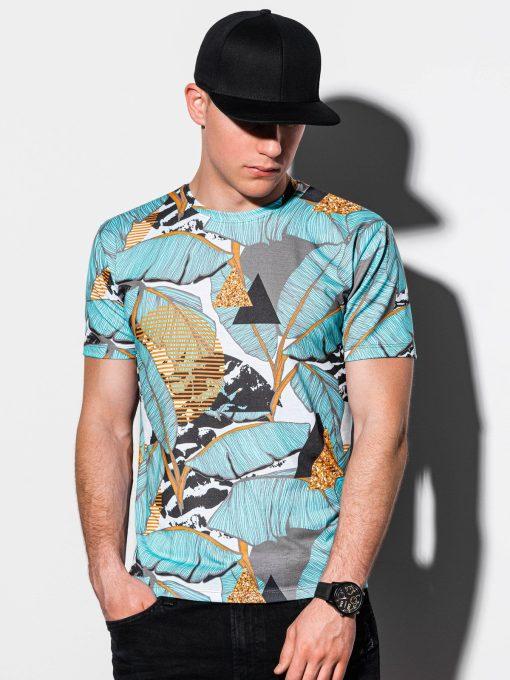 Šviesiai mėlyni vyriški marškinėliai su aplikacijomis internetu pigiau S1196 15081-3