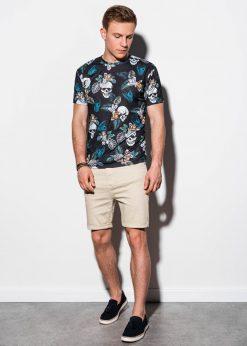 Juodi gėlėti vyriški marškinėliai su kaukolėmis internetu pigiau S1222 15084-1