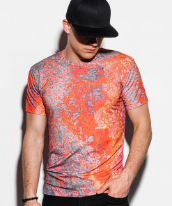 Raudoni marginti vyriški marškinėliai internetu pigiau S1223 15085-3