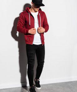 Raudonas vyriškas džemperis su gobtuvu internetu pigiau B977 15118-3