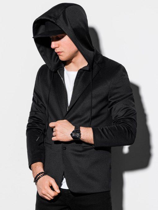 Juodas vyriškas švarkas su gobtuvu prie džinsų internetu pigiau M156 15194-1