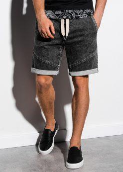 Juodi džinsiniai šortai vyrams internetu pigiau W219 15197-2