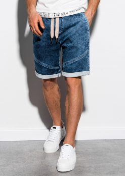 Tamsiai mėlyni džinsiniai šortai vyrams internetu pigiau W219 15199-1