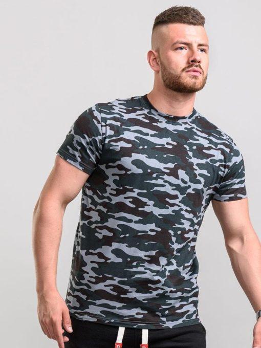 Pilki kamufliažiniai didelių dydžių marškinėliai vyrams Gaston KS16427PCAM-1