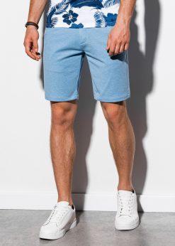Klasikiniai šviesiai mėlyni vyriški šortai internetu pigiau W224 15229-5