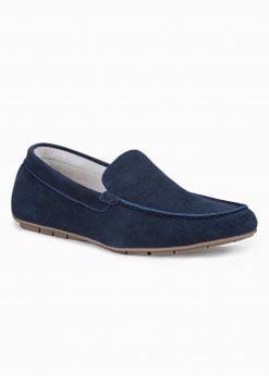 Tamsiai mėlyni odiniai mokasinai vyrams internetu pigiau T341 15242-1