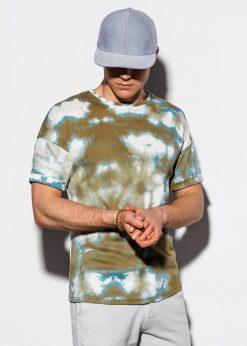 Žali marginti vyriški marškinėliai internetu pigiau S1219 15454-4
