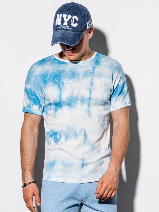 Šviesiai mėlyni marginti vyriški marškinėliai internetu pigiau S1219 15459-1