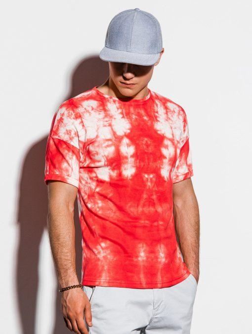 Raudoni marginti vyriški marškinėliai internetu pigiau S1219 15460-3