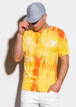 Geltoni marginti vyriški marškinėliai internetu pigiau S1219 15461-2