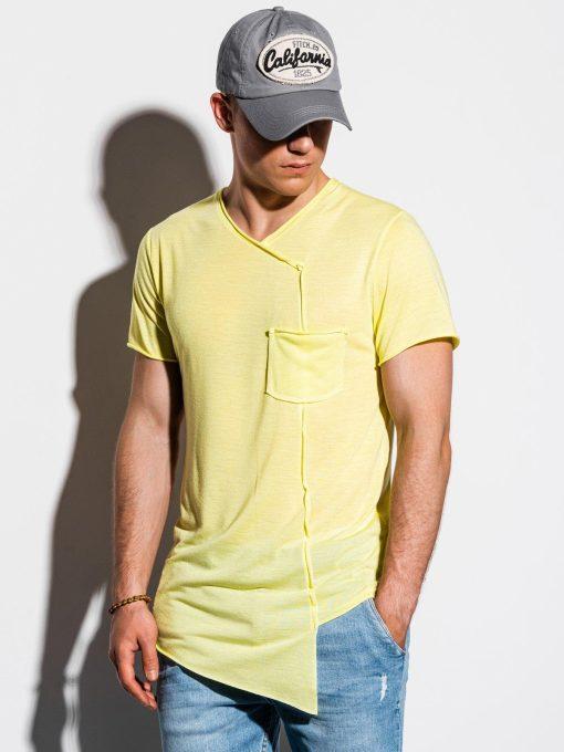 Geltoni asimetriški vyriški marškinėliai internetu pigiau S1215 15526-1