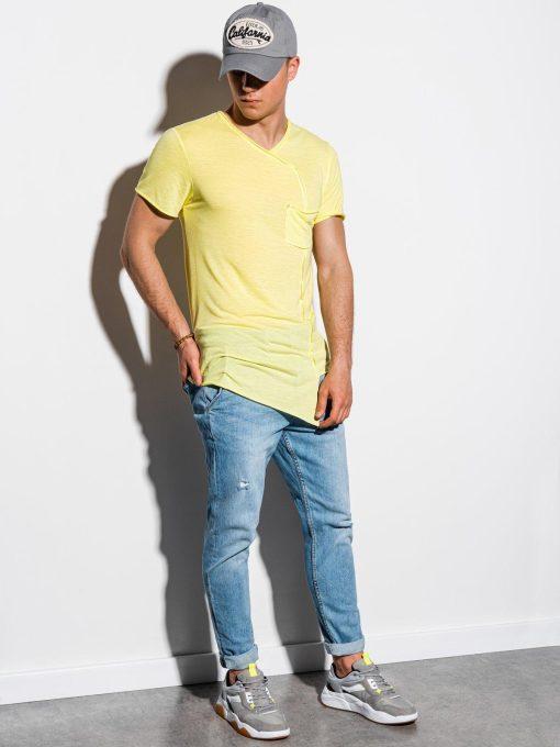 Geltoni asimetriški marškinėliai vyrams internetu pigiau S1215 15526-5