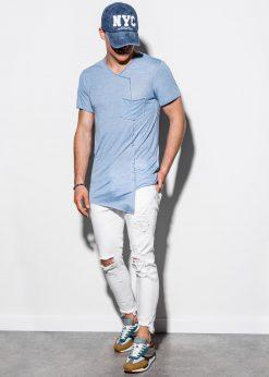 Šviesiai mėlyni asimetriški vyriški marškinėliai internetu pigiau S1215 15527-1