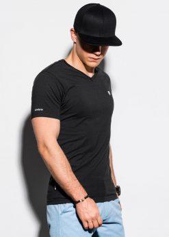 Juodi vienspalviai vyriški marškinėliai internetu pigiau S1183 15533-1