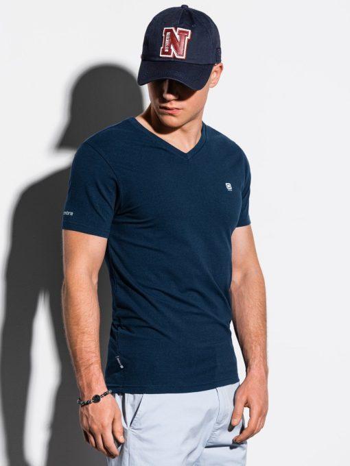 Tamsiai mėlyni vienspalviai vyriški marškinėliai internetu pigiau S1183 15535-1