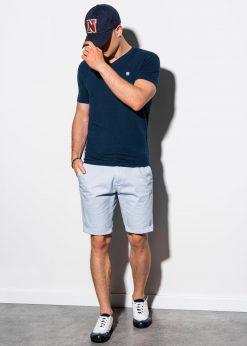 Tamsiai mėlyni vienspalviai marškinėliai vyrams internetu pigiau S1183 15535-5