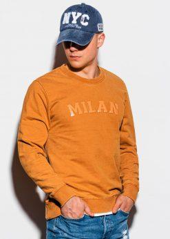 Garstyčių spalvos vyriškas džemperis su užrašu internetu pigiau B1026 15568-1