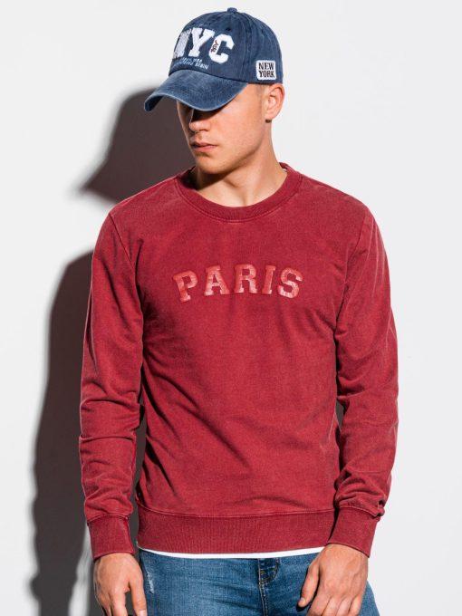 Raudonas vyriškas džemperis su užrašu internetu pigiau B1027 15569-1