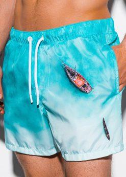 Šviesiai mėlyni paplūdimio šortai vyrams internetu pigiau W244 15574-2