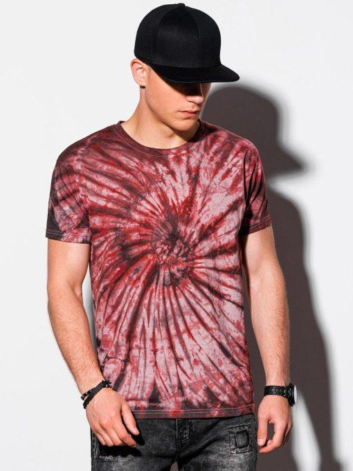 Raudoni vyriški marškinėliai su aplikacija internetu pigiau S1335 15589-1