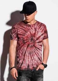 Raudoni vyriški marškinėliai su aplikacija internetu pigiau S1335 15589-2